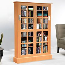 Unique Media Storage Cabinet with Glass Doors