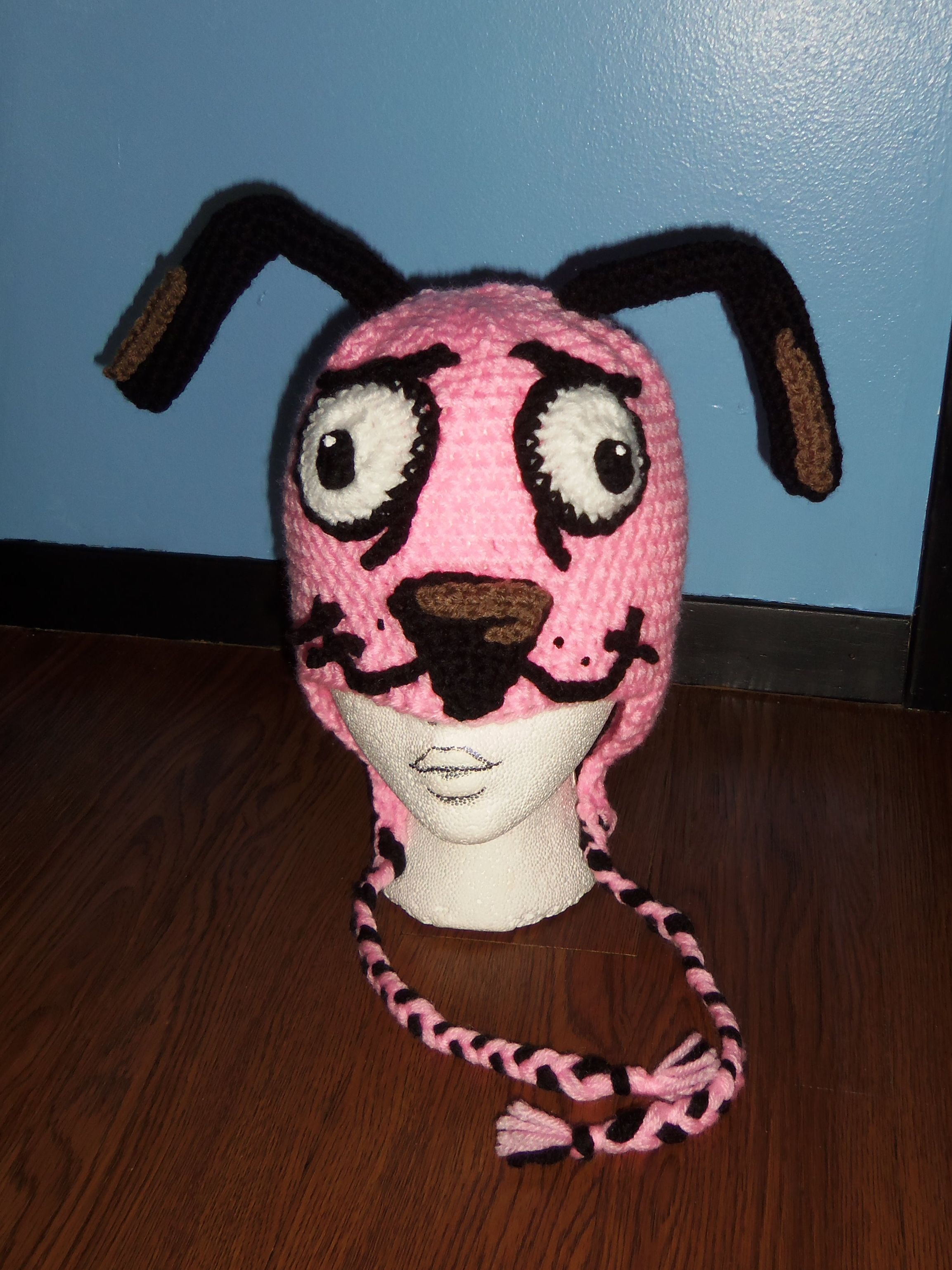 Courage The Cowardly Dog Hat Dog Hat Handmade Crochet