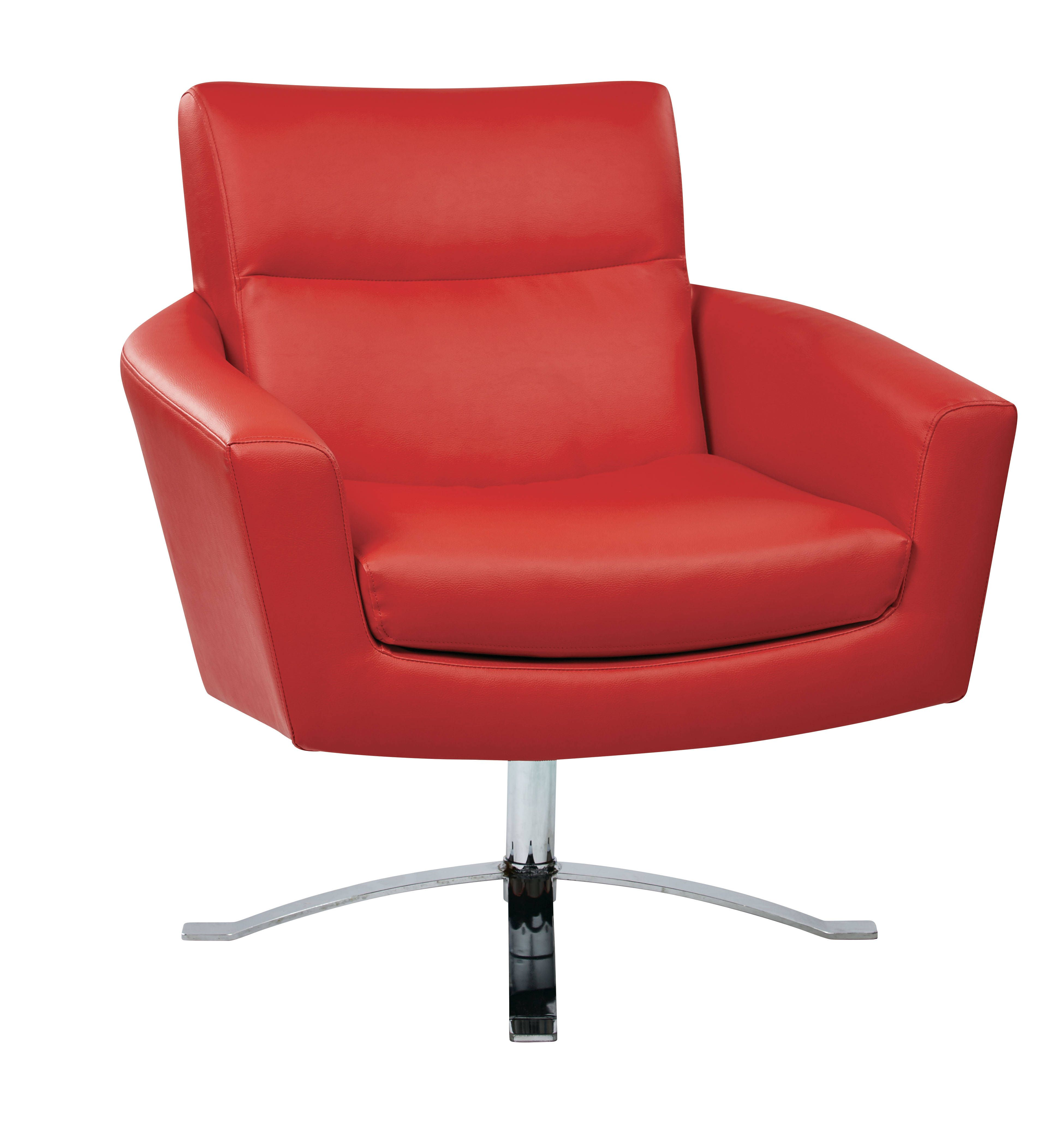 Nova Contemporary Red Faux Leather Chrome Base Chair