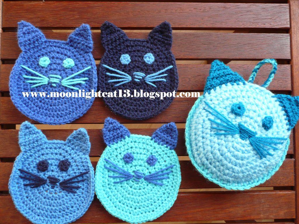 Crochet cat coaster   My Own Hand Work   Pinterest   Topflappen ...
