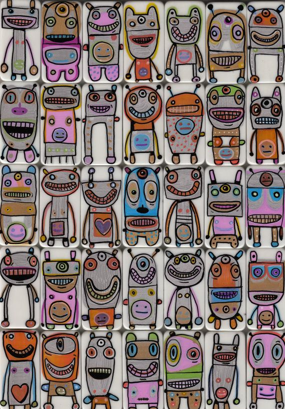 """I want a joy bot!!! - domino robot """"programmed"""" to shower you with outrageous compliments and bring you joy! by Gary Hirschart"""