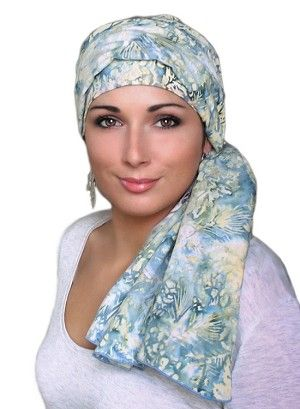 Denim and Lace Turban Cancer Hat, Alopecia Chemo Hat by Turban Diva