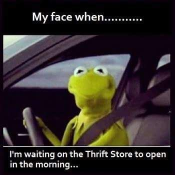 My Face When I M Waiting On The Thrift Store To Open In The Morning Shopsmallresale Humor Funny Funny Pictures