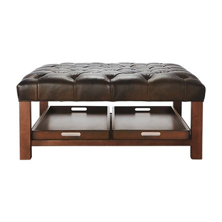"Butler Tufted 39"" Leather Ottoman with Trays in Libby Espresso"