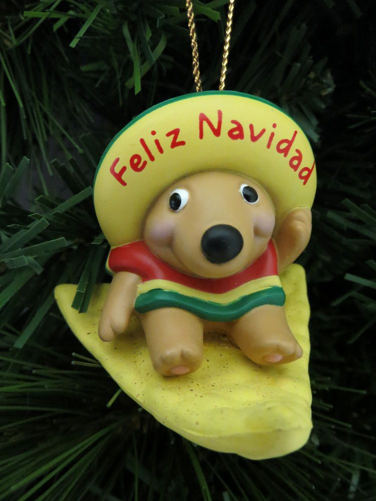 feliz navidad tortilla chip mexican mouse christmas tree ornament gibson mib christmas ornaments pinterest navidad mice and christmas tree