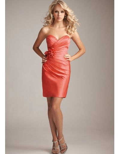 Satin Sheath Strapless Short Bridesmaids Dresses
