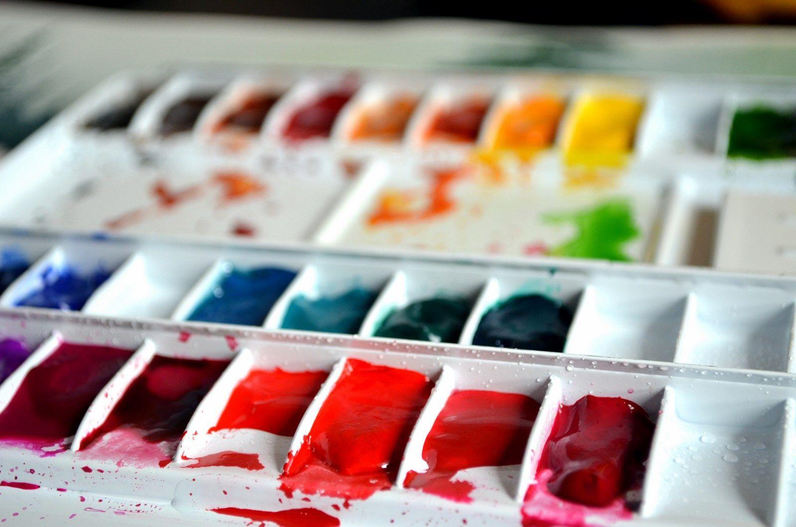 watercolor folding metal palette with and schmincke horadam watercolor paints