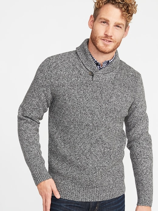 CHRISTMAS FESTIVE PRESENT MEN/'S SHAWL COLLAR KNITTED JUMPER XS-2XL