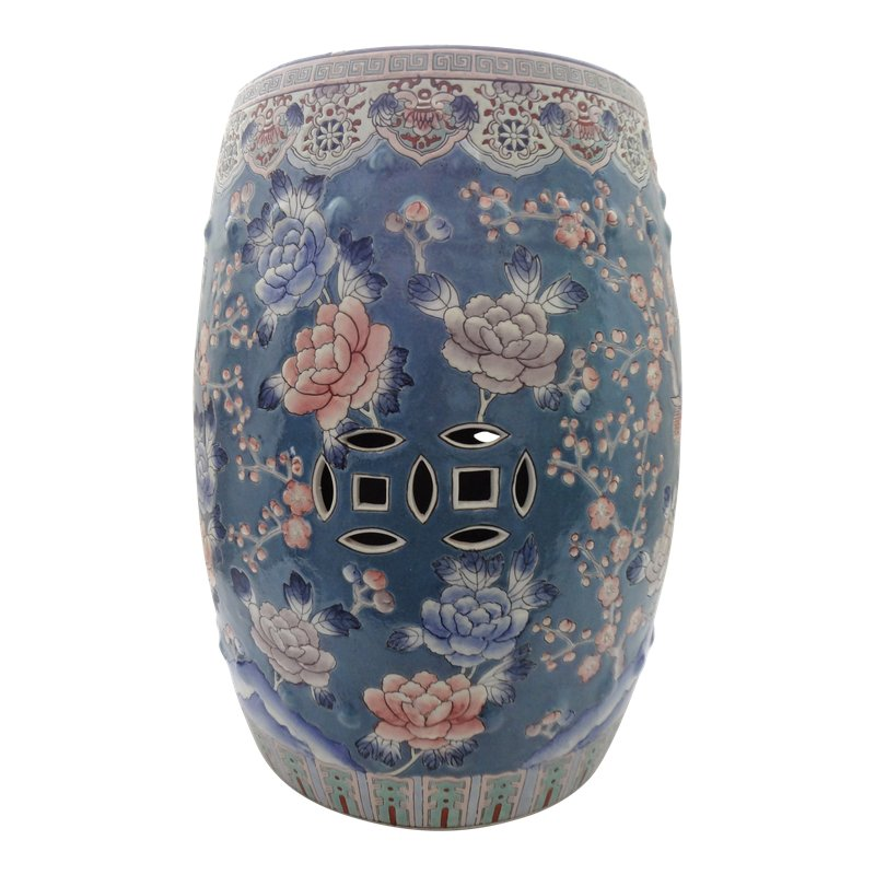 Awesome Traditional Chinoiserie Floral Blue Ceramic Garden Stool Caraccident5 Cool Chair Designs And Ideas Caraccident5Info