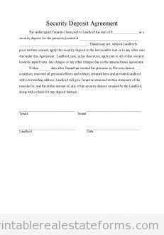 Free Security Deposit Agreement Printable Real Estate Forms