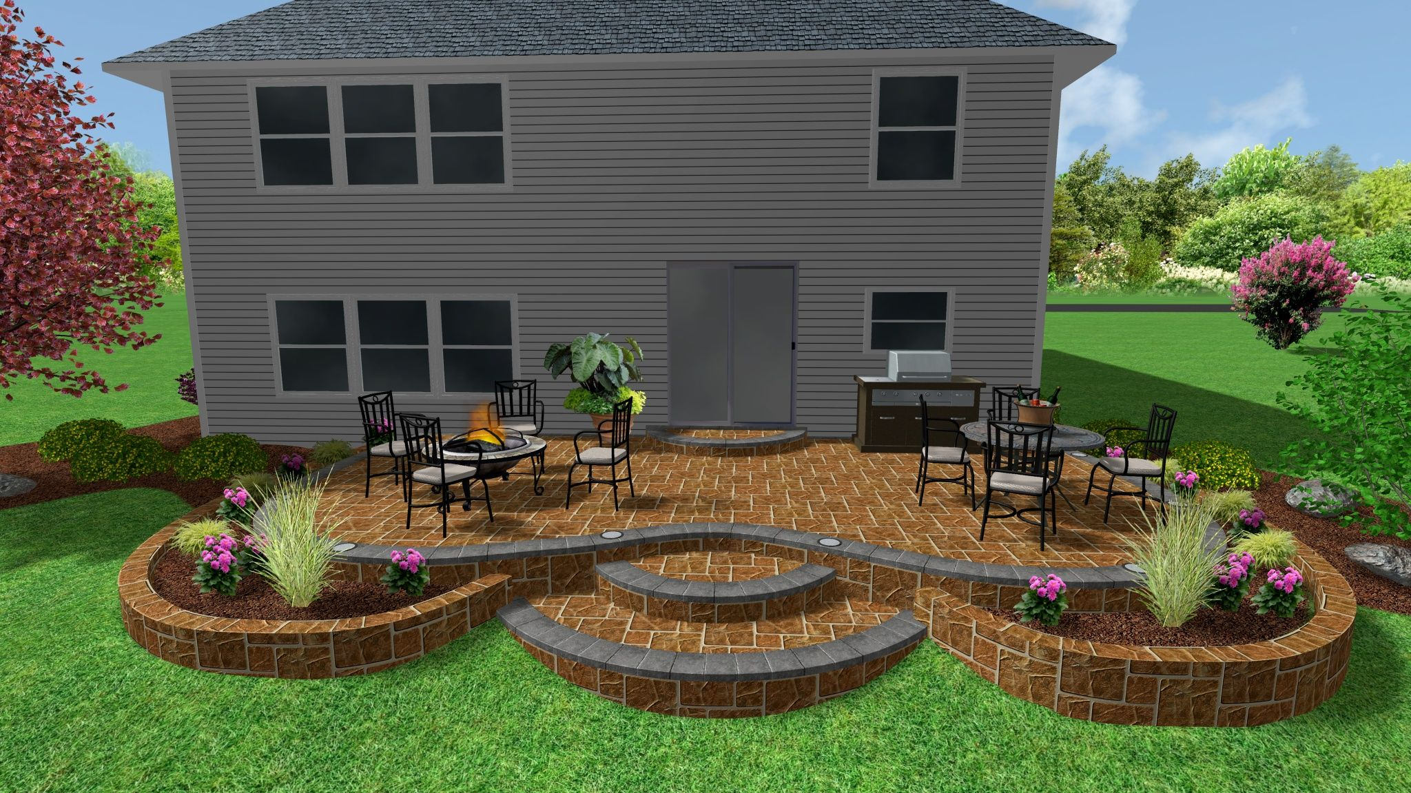 raised stamped concrete patio and garden wall 3d landscape