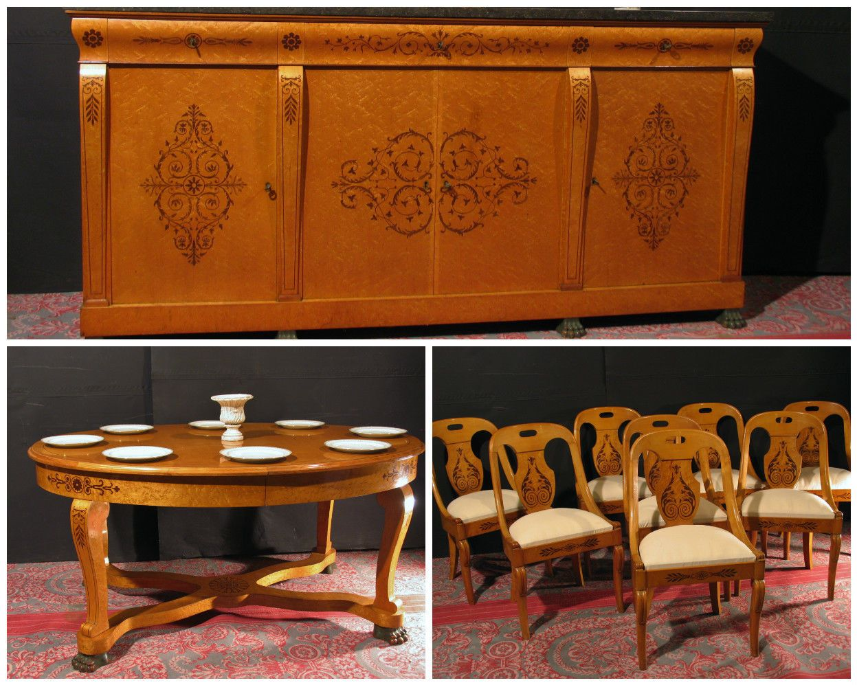 Ancienne SALLE A MANGER CHARLES X buffet-enfilade + table ...