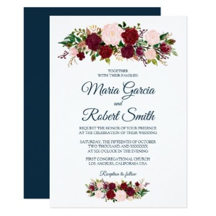 Burgundy Marsala Floral Marine Blue Wedding Card