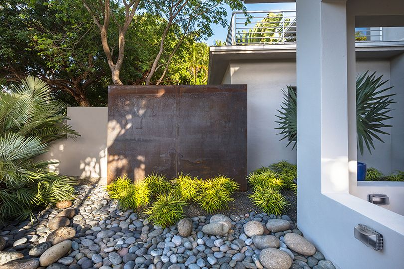 Modern Tropical Landscape Design Water Feature Corten Steel Landscape Design Key West Tropical Landscape Design Tropical Landscaping Landscape Design