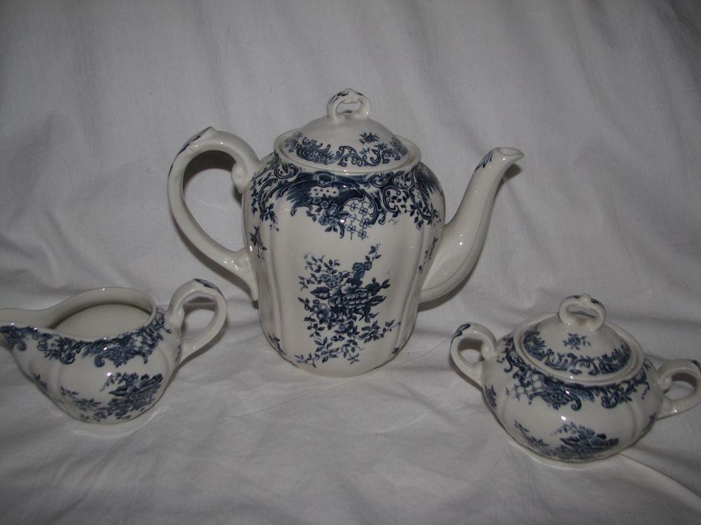 Blue Transferware Villeroy Boch Coffee Pot Sugar Bowl Creamer