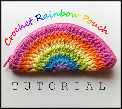 Rainbow crochet purse, simple flat round folded in half with a zipper sewn in. Will be making these!
