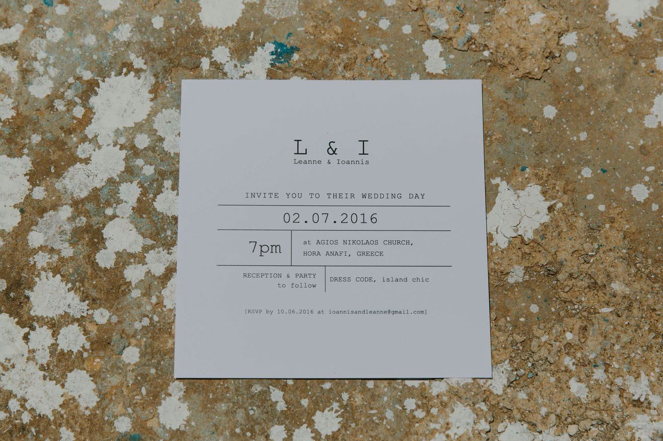 black and white wedding cards pinterest%0A Minimal invitation   Greek wedding   black and white invitation   Anafi  island