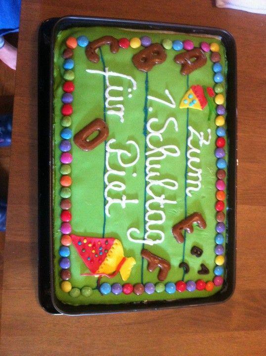 Tafel Kuchen Zur Einschulung Zum Schulanfang Von Cosma2202 Chefkoch Rezept Kuchen Einschulung Torte Einschulung Kuchen Tafel