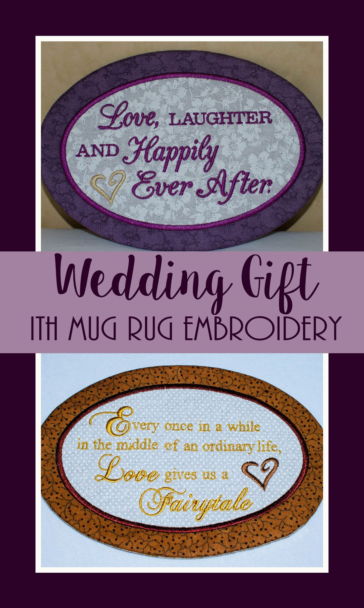 ITH Mug Rug Embroidery Design Love Laughter and Happily Ever After