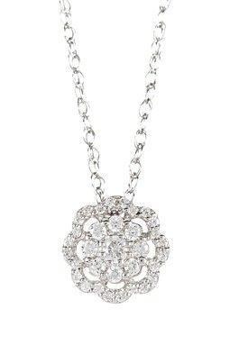 Elani Jewelry Sterling Silver Round Cut Diamond Flower Pendant Necklace