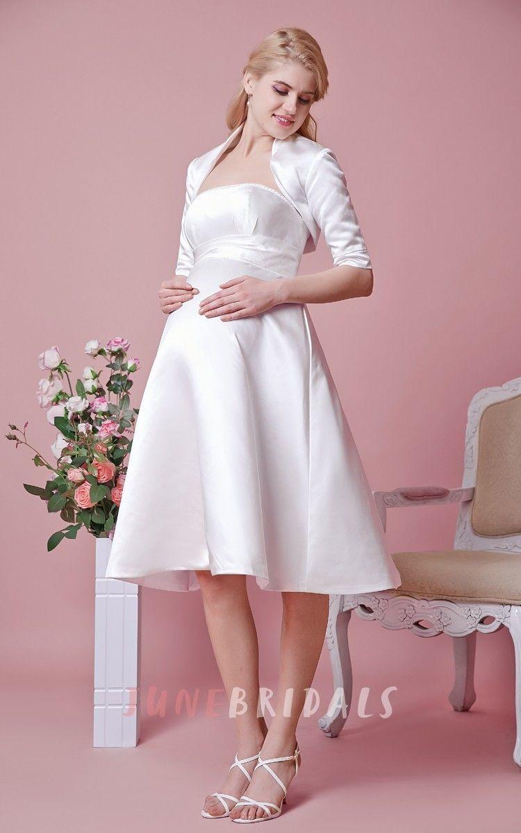 Elegant Strapless Tea Length Satin Maternity Wedding Dress With ...
