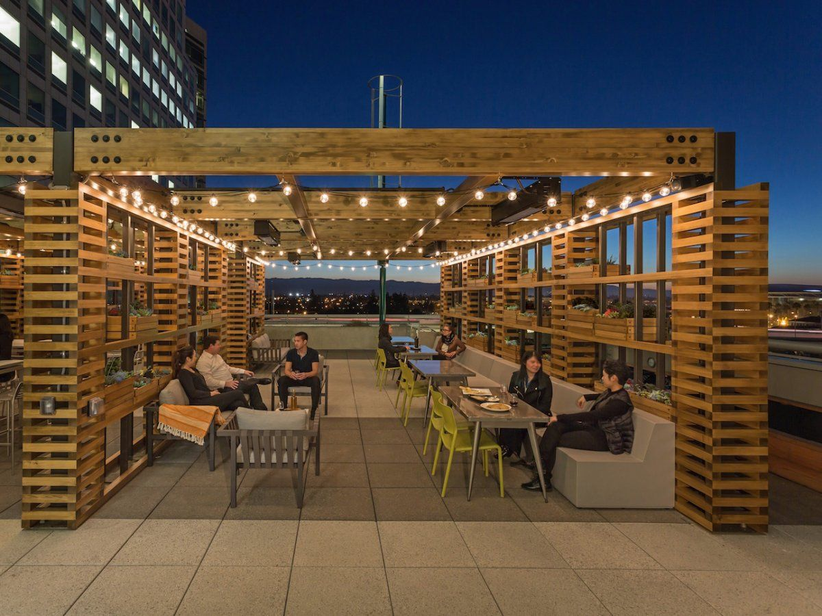 Take A Look Inside The Vibrant Headquarters Of 67 Billion Adobe Where Employees Can Hit The Gym And Learn To Cook For Free Architecture Patio Lounge Deck Design