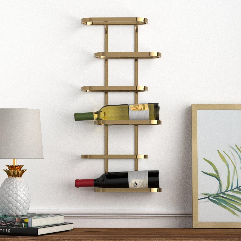 rivet modern wood wall wine rack