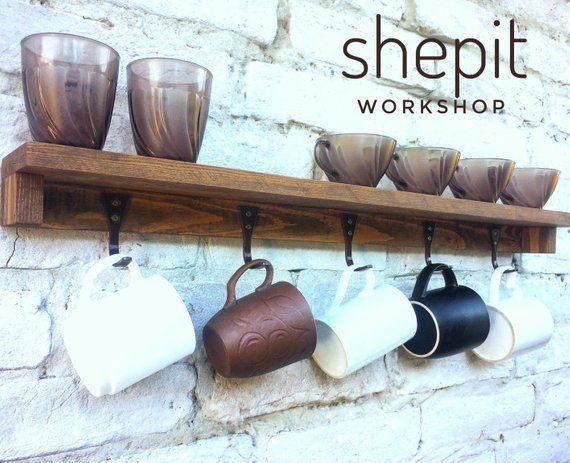 floating rustic mug rack floating shelf with hooks coffee cup rh pinterest com