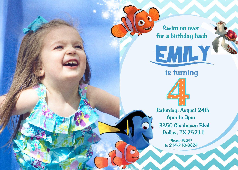 Finding Nemo Birthday Party Invitation - Digital File   Finding ...