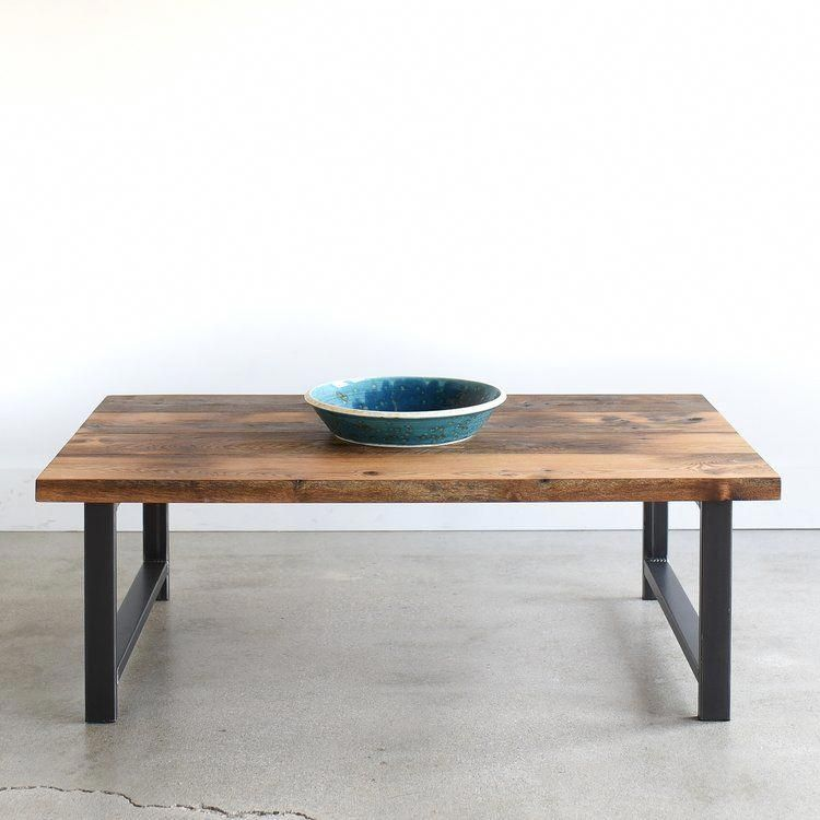 Our reclaimed oak barn wood coffee table with hshaped
