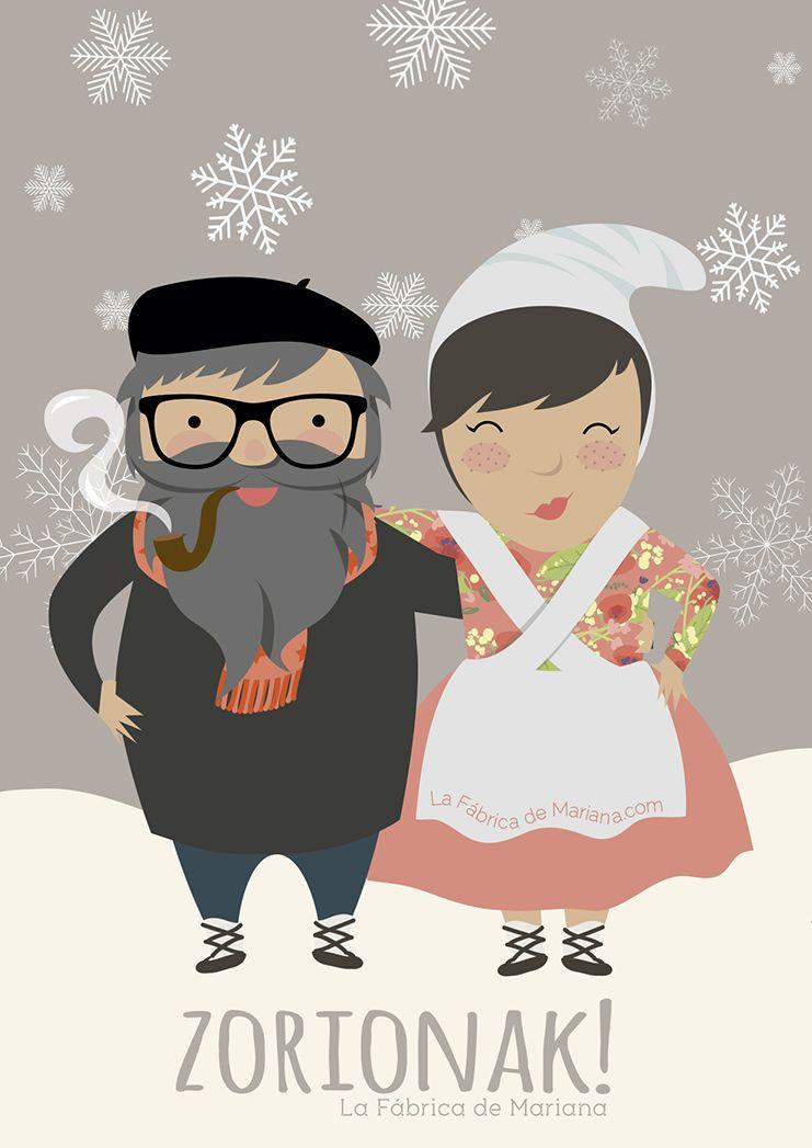 Dibujos De Navidad Del Olentzero.Olentzero Y Mari Domingi Ilustracion Yoana Figueras