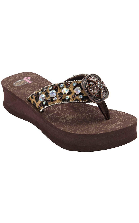 f07357d2d101a Justin® Emily™ Women s Brown Black Leopard Print Jeweled Flip-Flop by M F®