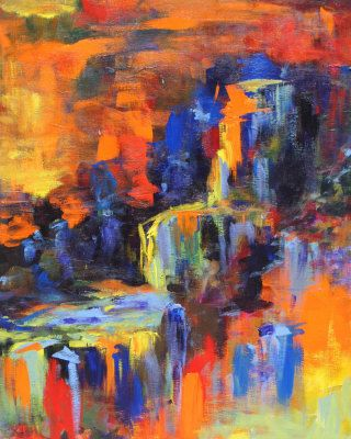 colorful waterfall painting