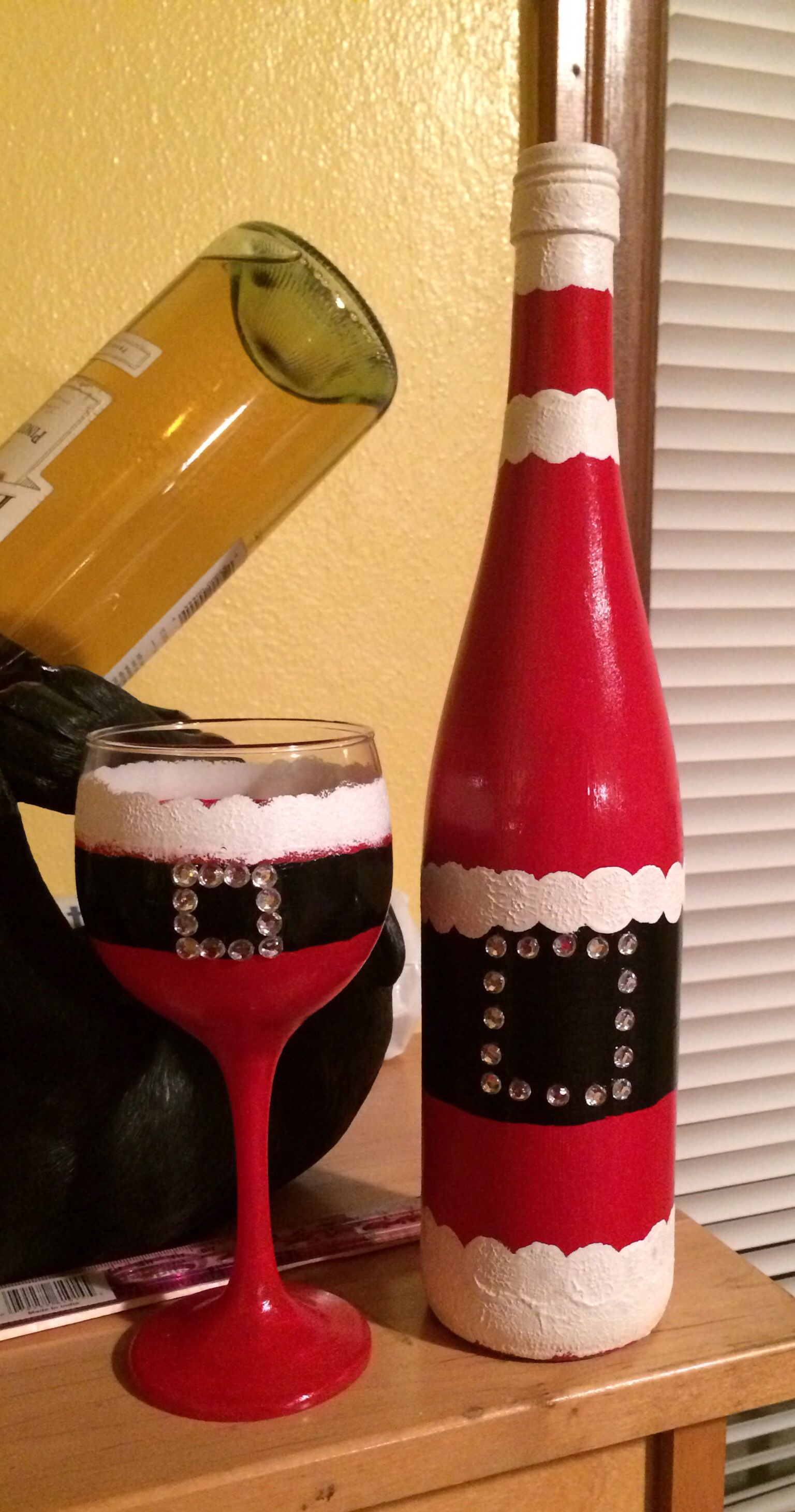 diy santa wine glass matching wine bottle used an empty