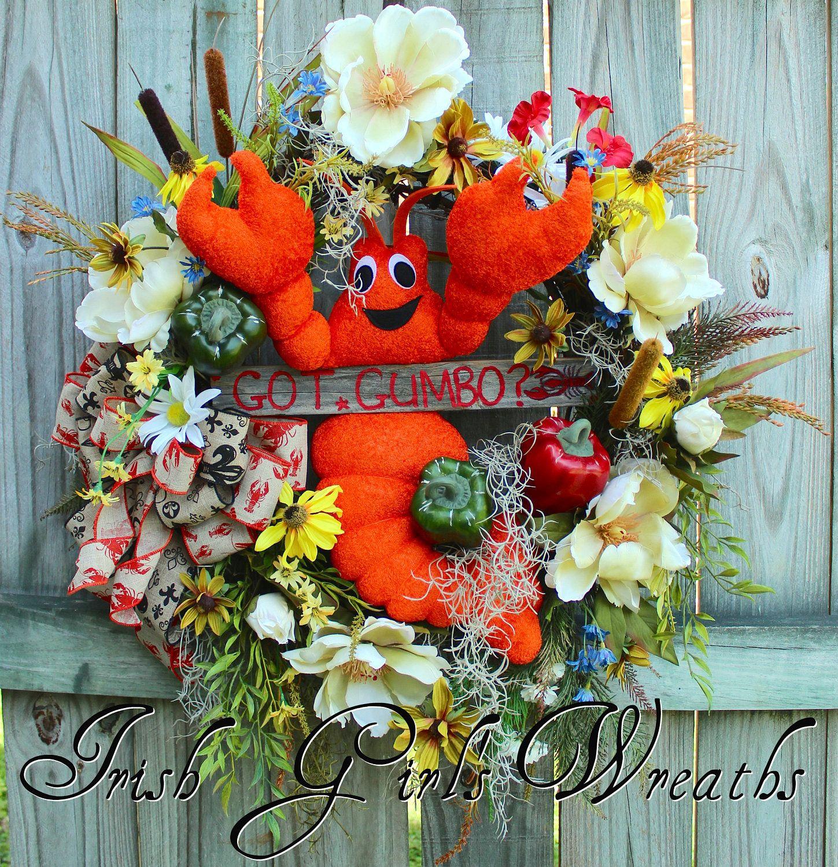 Louisiana Map Decor%0A Cajun Wreath  Crawfish Decor  Cajun Floral  Louisiana Decor  Everyday