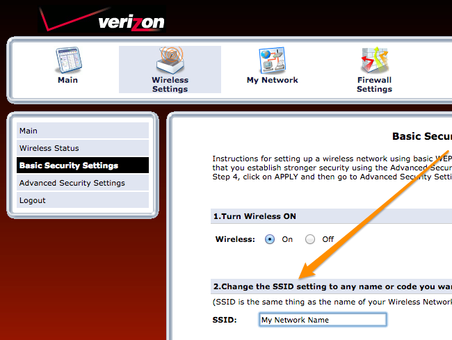 How To Change The Wi Fi Network Name Ssid On Your Verizon Fios Router Networking Wireless Networking Router