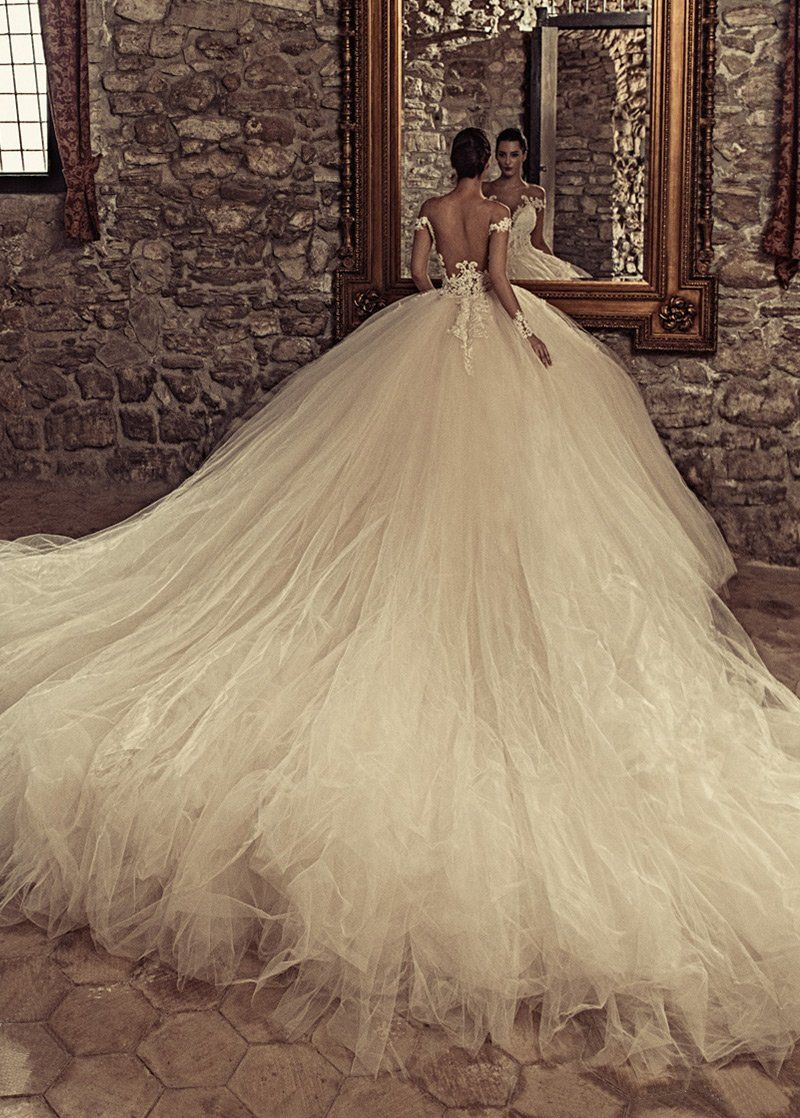 Wedding Dresses Ball Gown, Marvelous Tulle & Satin Bateau Neckline Ball Gown Wedding Dresses With Beaded Lace Appliques DressilyMe