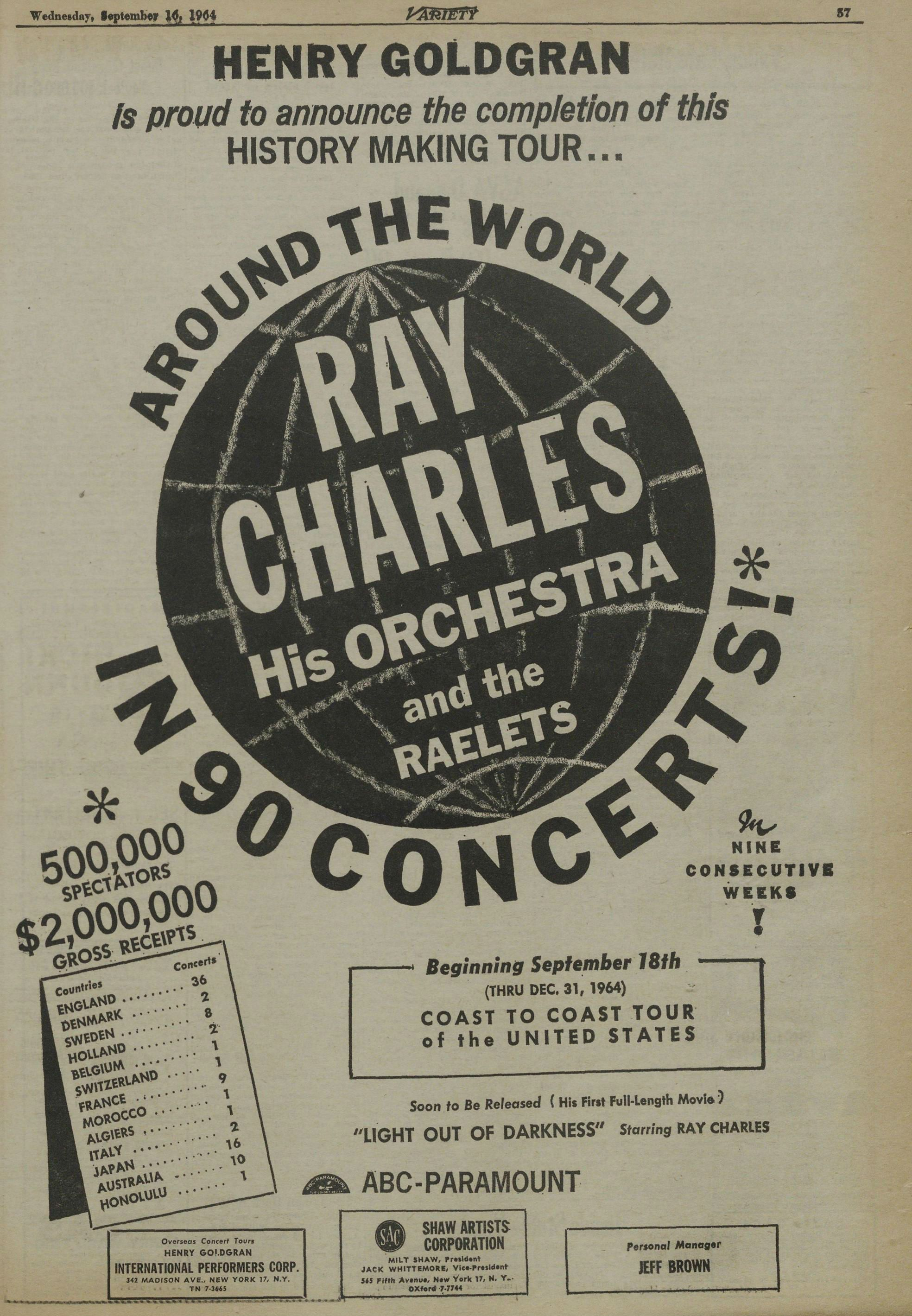Henry Goldgran ad for 1964 U.S. Autumn Tour, also claiming earlier Europe & Austrasia tour of Ray Charles, in Variety (Sep. 16, 1964).