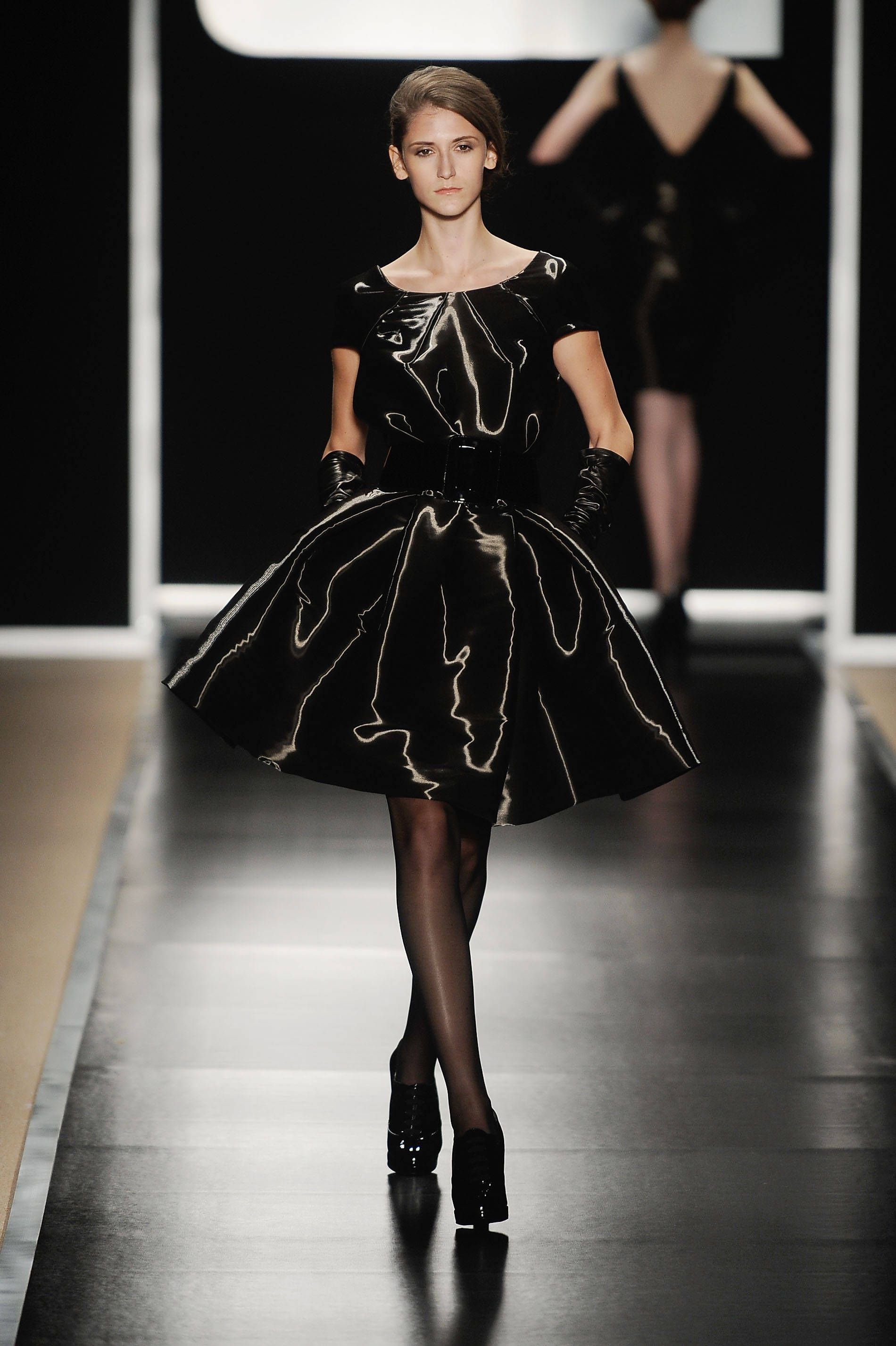 short glossy black dress with full skirt from georges chakra fall ...