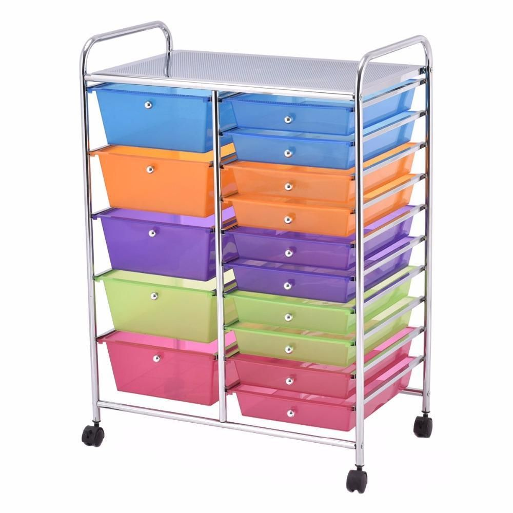 Storage Cart 15 Drawer Rolling Tools Scrapbook Paper Office School Organizer Home Furniture In 2020 Rolling Storage Rolling Storage Cart Organization Cart