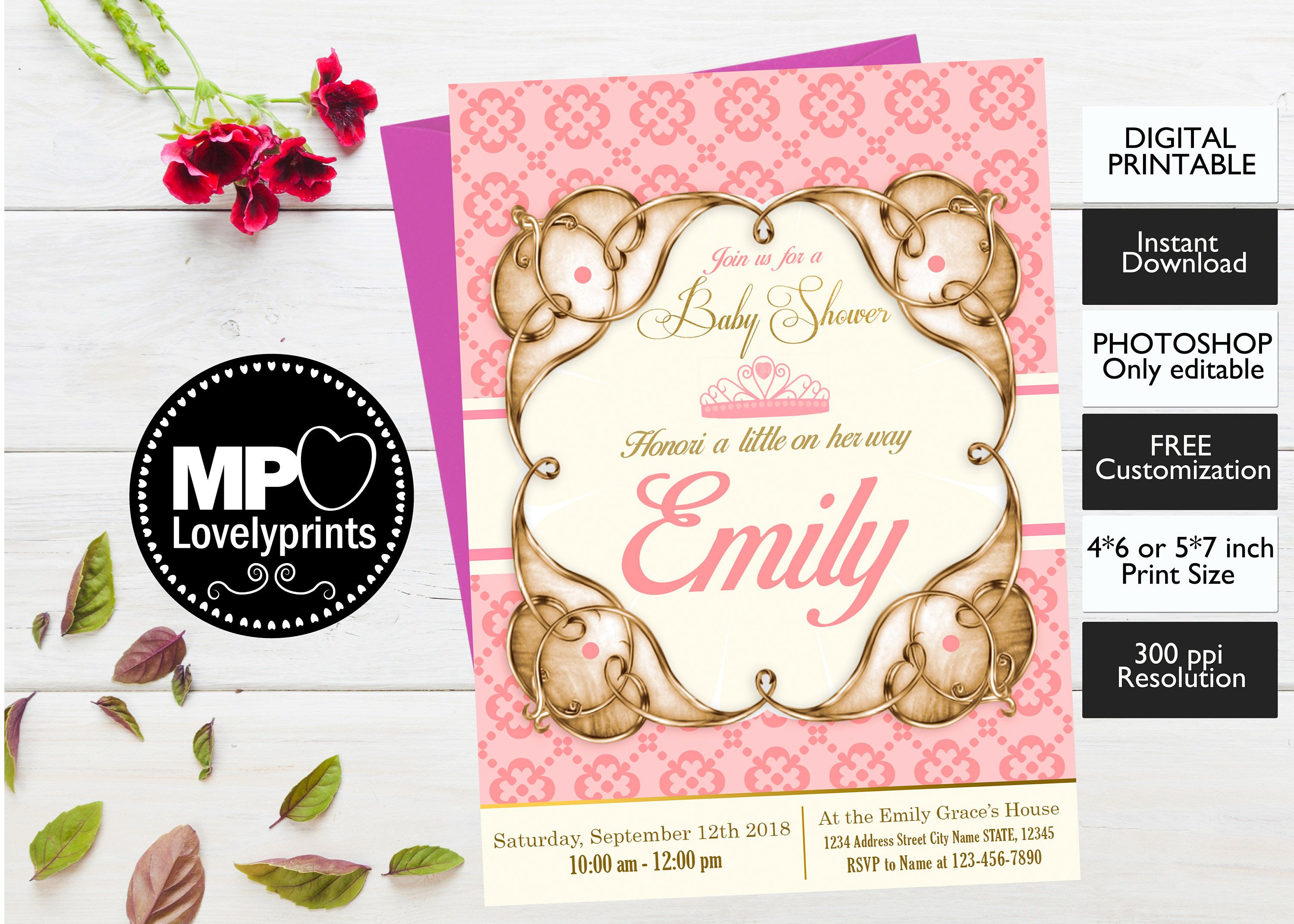 Royal Princess Baby Shower Invitation Girl Pink and Gold INSTANT
