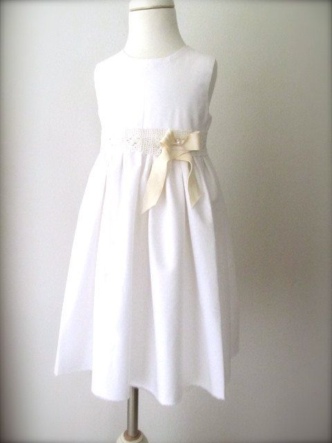 Simple White Flower Girl Dress With Crochet By Pleasantlypeasant