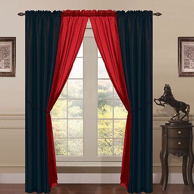 Window Curtain Panels Black Red