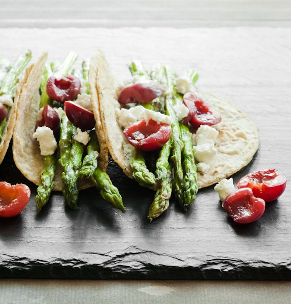 Asparagus and cherry tacos. Recipe & photo by Amy Roth (Blog: chimeraobscura.com)