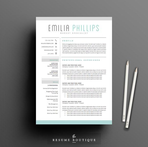 Resume Template 4 page pack | Aqua by The.Resume.Boutique on ...
