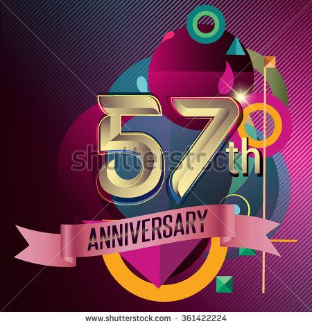 57th Anniversary, Party poster, party invitation - background geometric glowing element. Vector Illustration - stock vector