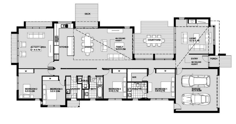 planos de casas modernas de una planta 4 dormitorios