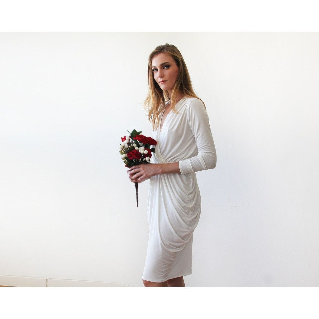 Ivory midi bridesmaids dress with long sleeves products