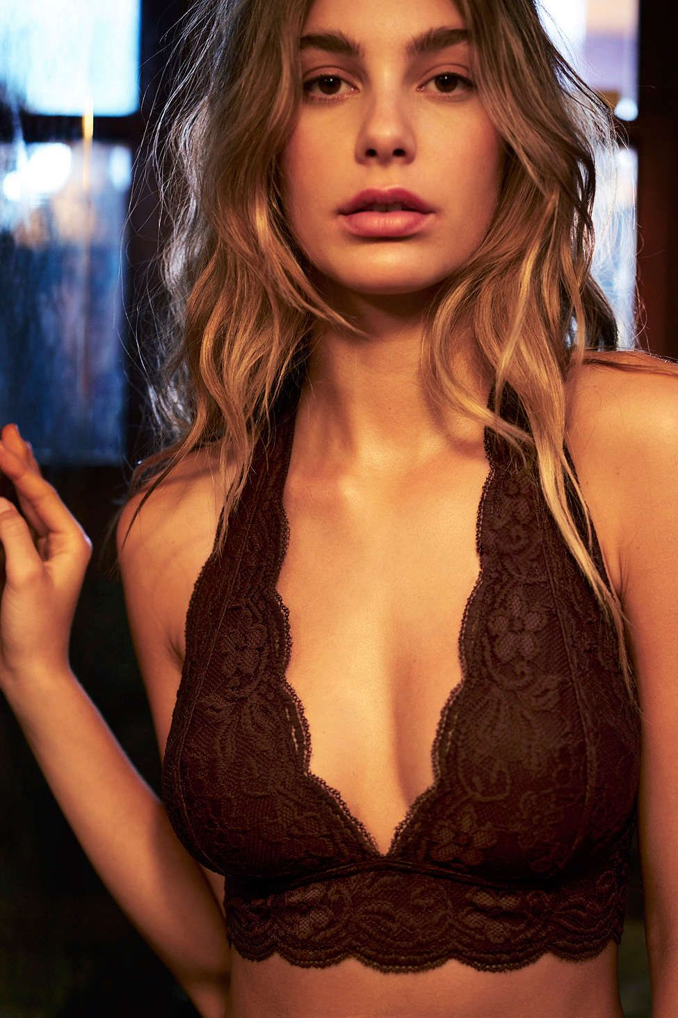 6a252e3f95 Out From Under Lace Halter Bra