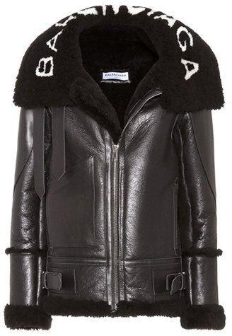 en soldes 00f35 2b800 Balenciaga Shearling-lined leather jacket | vestes,blousons ...